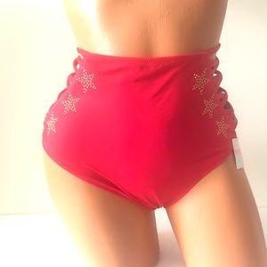 VS PINK High Waist Bottoms Bikini Strappy Swim NEW